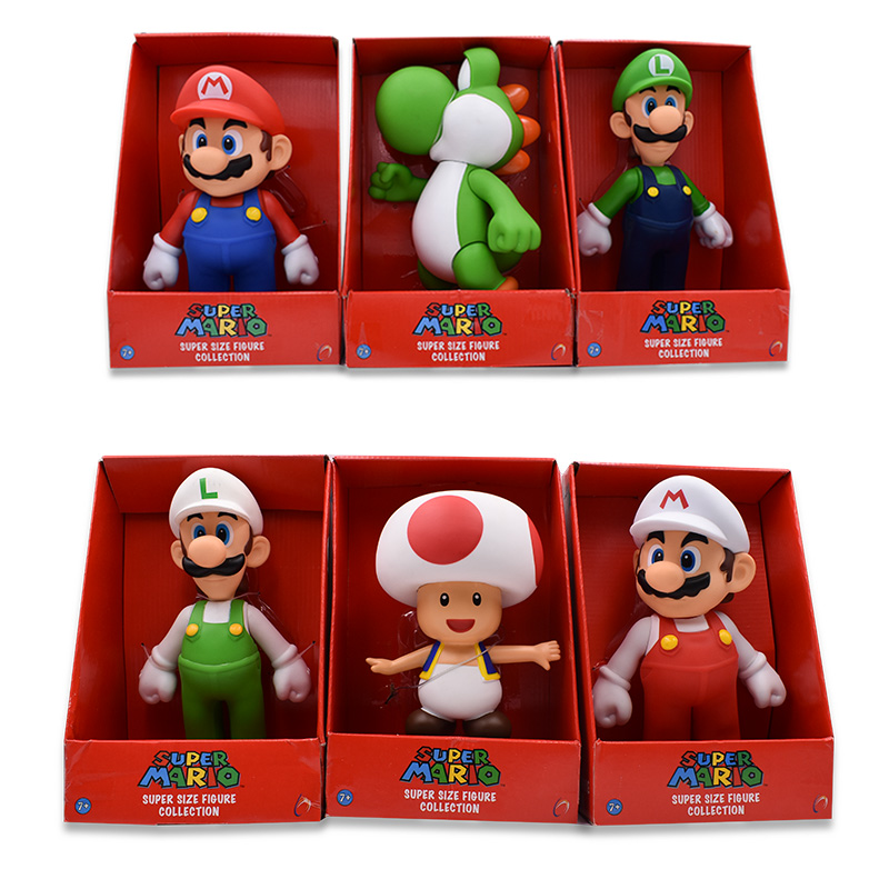 23CM 7Style Super Mario Bros Figure Yoshi Toad Pink Princess White Hat Mario Luigi Model Collection Action Figure Toy