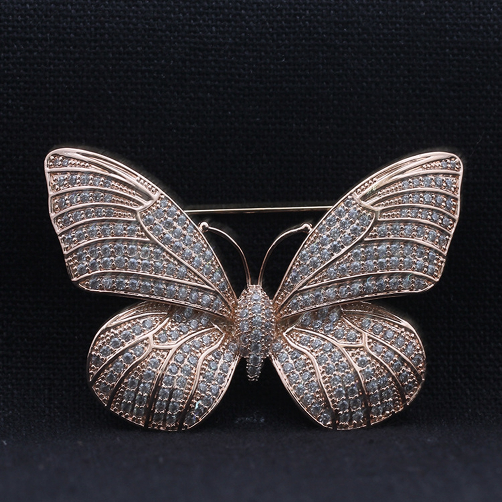 Fabulous Full Micro Pave CZ Butterfly Brooch Silver Tone Tinny Round Stone Paved Antique Victorian Butterfly Broaches for Women in Brooches from Jewelry Accessories