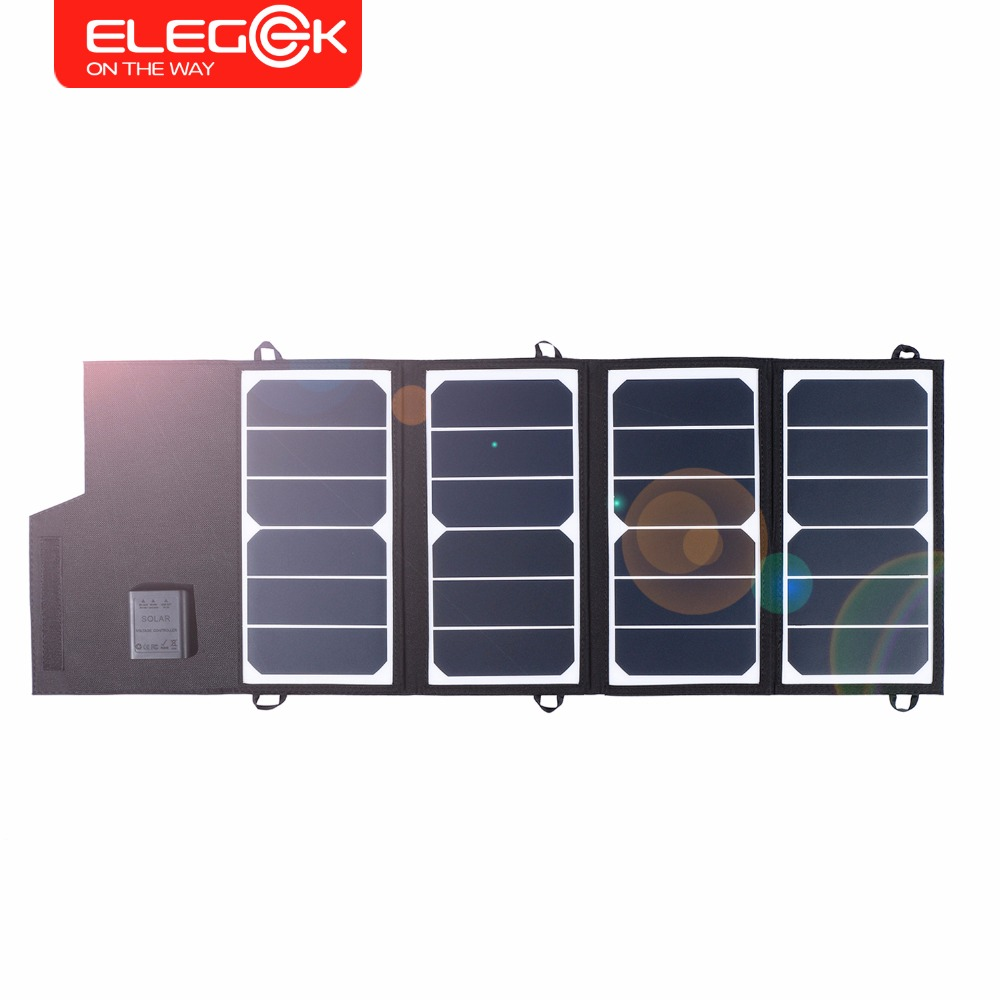ELEGEEK 26W Portable SUNPOWER Solar Panel Charger USB+DC Dual Output Foldable Solar Panel for iPhone Android Battery Charger etc