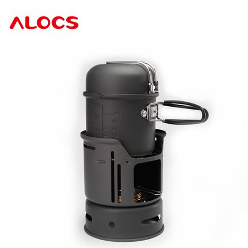 Outdoor wind proof alcohol stove camp set students pot dormitory with alcohol picnic pot CW-C01