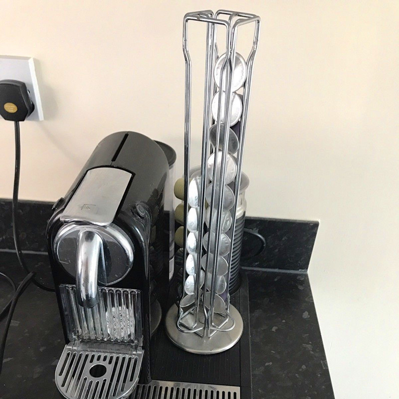 a33a5bc4f0c US $21.76 24% OFF|Rotatable 40 Cups Nespresso Capsule Storage Rack Rotary  Coffee Pod Holder Tower Stand Iron Coffee Pods Shelves Stainless Steel-in  ...