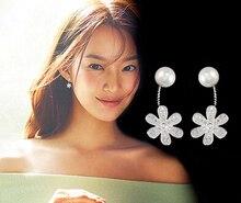 2017 nueva llegada de alta calidad, diseño de perlas y flores, aretes de Plata de Ley 925 para damas, regalo de joyería al por mayor