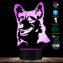 Cardigan Welsh Corgi Dog Breed 3D Optical illusion Light Animal Pet Hound Puppy Modern Novelty Table Lamp Decor LED Night Light