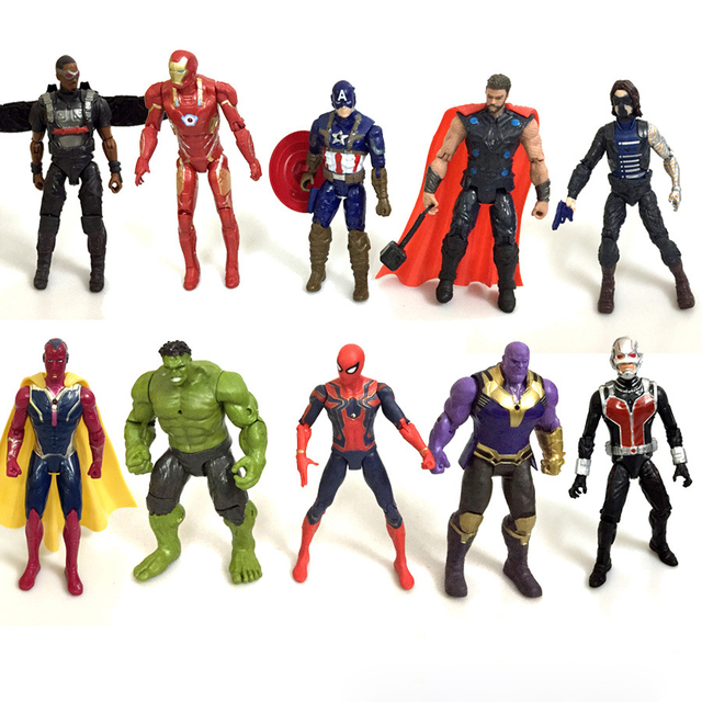10PCS Set Avengers 3 Infinity War Marvel Heroes Action Figures Thamos Falcon Vision Soldier