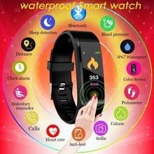 Цветной экран водостойкие умные часы Спортивные Фитнес пульсометр Кровяное Давление Обнаружение часы