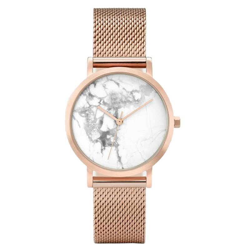 FUNIQUE New Marble Female Watch Moment Calendar Wrist Watch For Women Silver/Gold Color Stainless Steel Mesh Strap Quartz Watch цена и фото