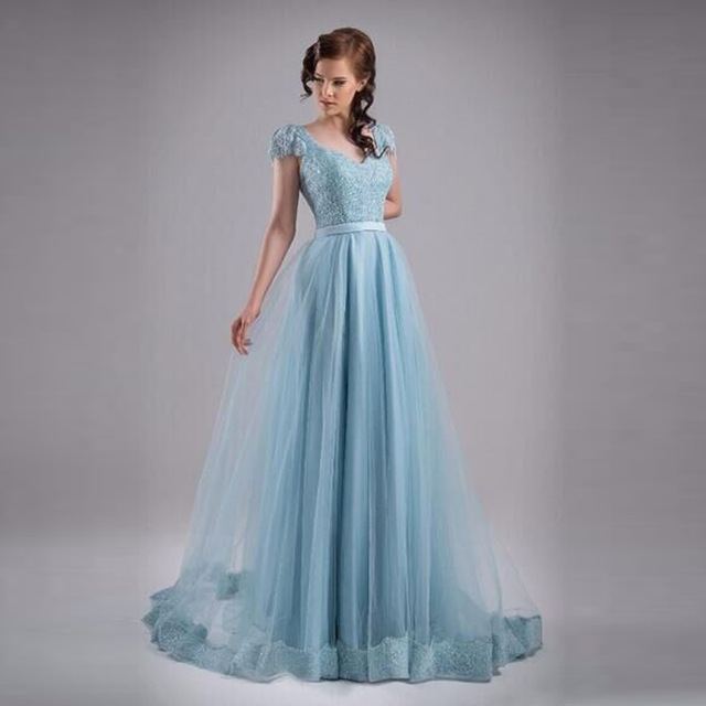 Fashion Light Blue Evening Gown Appliques Sequined Organza Evening ...