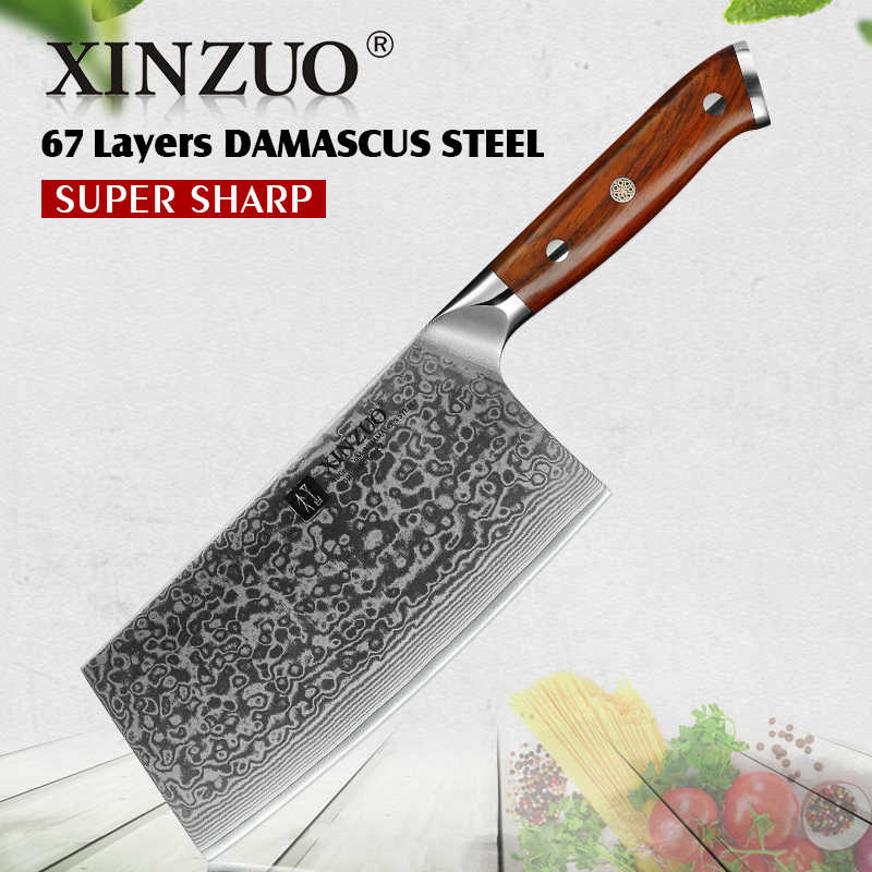 """Xinzuo 6.5 """"Cắt Lát Dao Damascus Inox Lớn Cleraver Dao Nhật Bản Cao Cấp Thép Không Gỉ Đầu Bếp Dao Rrosewood Tay Cầm"""