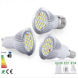 10 шт., супер-яркие светодиодные лампы GU10 E14 E27 MR16, 9 Вт, теплый белый/холодный белый 16 SMD 5730, светодиодный прожектор, лампы, лампы, светодиодные л...