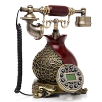 Europe style Vintage landline Antique Telephone for home office made of resin white and red fixed phone can work worldwide H26|Telephones| |  -