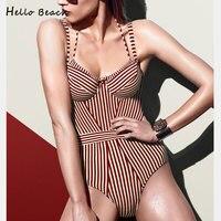 HELLO BEACH 2018 New Women S Swimsuits Push Up Monokini One Piece Baths Bodysuit Swimwear Female