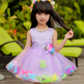 Retail four different color kids girl dress floral party dress girl sleeveless ball gown dress L108