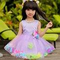 Varejo quatro cores diferentes crianças vestido da menina vestido de festa floral sem mangas menina vestido de baile vestido L108