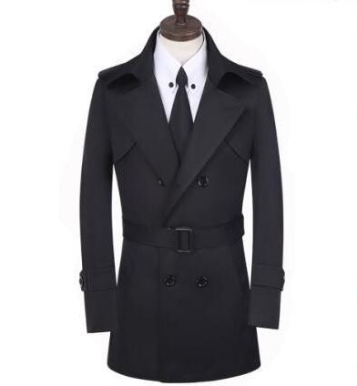 Φτηνές khaki άνοιξη διπλό breasted trench παλτό - Ανδρικός ρουχισμός - Φωτογραφία 6
