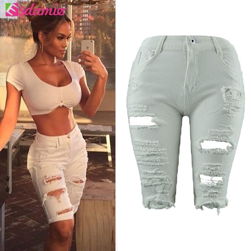 Nové příchozí letní bílé šortky ženy vysoké pasu šortky roztrhané krátké džíny žena džínové šortky Pantalones Cortos Mujer  t