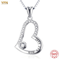 YFN 925 Sterling Silver Jewelry Message Love You Mom Love Heart Pendants Necklaces Charm colliers femme bijoux colar feminino