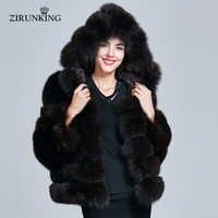 ZIRUNKING Frauen Mit Kapuze Echt Pelz Mäntel Weibliche Dicken Winter Pelz Jacke Mantel Natürliche Blau Fuchs Pelz Mantel mit Kapuze ZC1736