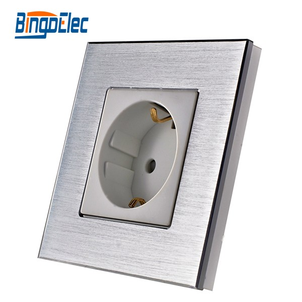 цена на Europe standard socket ,silver aluminum panel germany power socket,16A wall socket,220V,