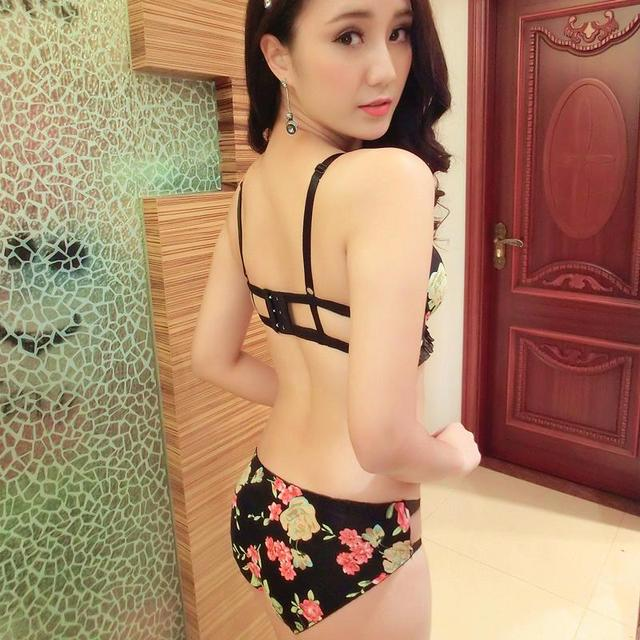 94e90fb059ef6 Intimates 2015 New Luxury Underwear 3 4 Cup Lace Flower Printed Push Up Bra  Brief Sexy Women Bra Conjunto Lingerie Birthday Gift