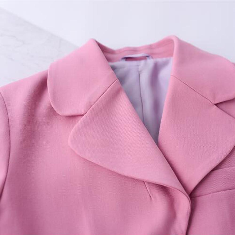 Printemps Femmes Éclair Set Fermeture Et Ensembles Rose Bureau 2 Entaillée Mode Antumn Pièce Pantalon Poitrine Solide Blazer Kohuijoo Costumes Unique qRw547Oc6X