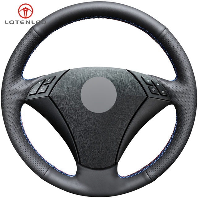 LQTENLEO Black Artificial Leather Car Steering Wheel Cover for BMW E60 E61 520i 520li 523 523 523li 525 525i 530 530i 535 545i