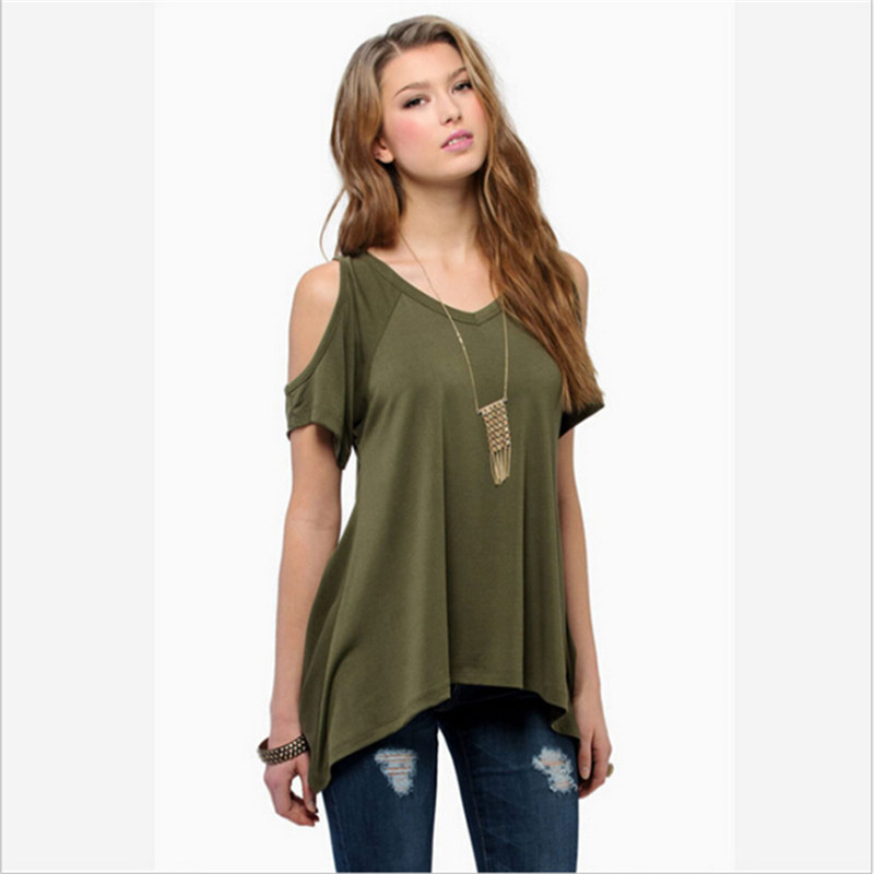 839655a9079 2016 Retail Fashion Women Summer casual Loose Top Short Sleeve T shirt  Ladies Casual Tops Tees Blusa Army Green -in T-Shirts from Women s Clothing  on ...