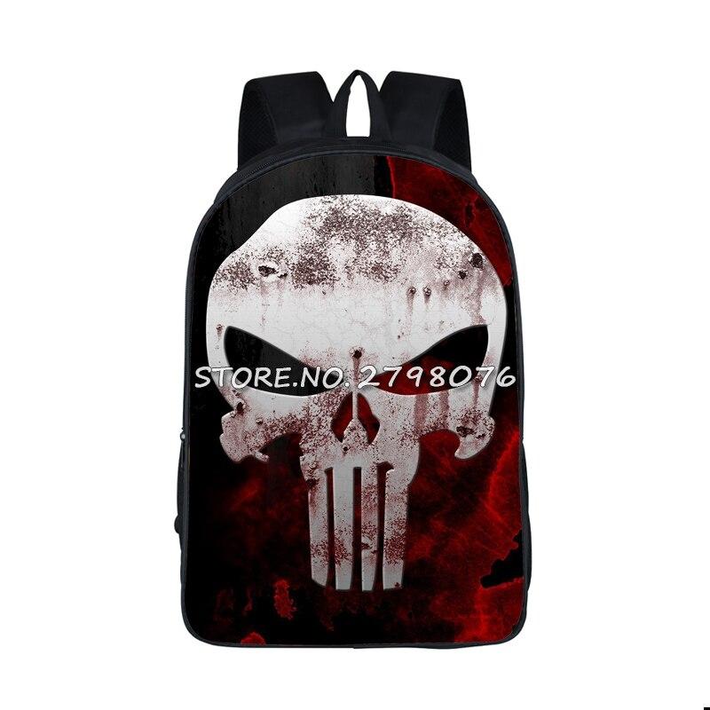 Anime Punisher Backpack For Teenage Girls Boys Punisher Skull School Bags Men Skull Printing Backpacks Men's Casual Daypacks