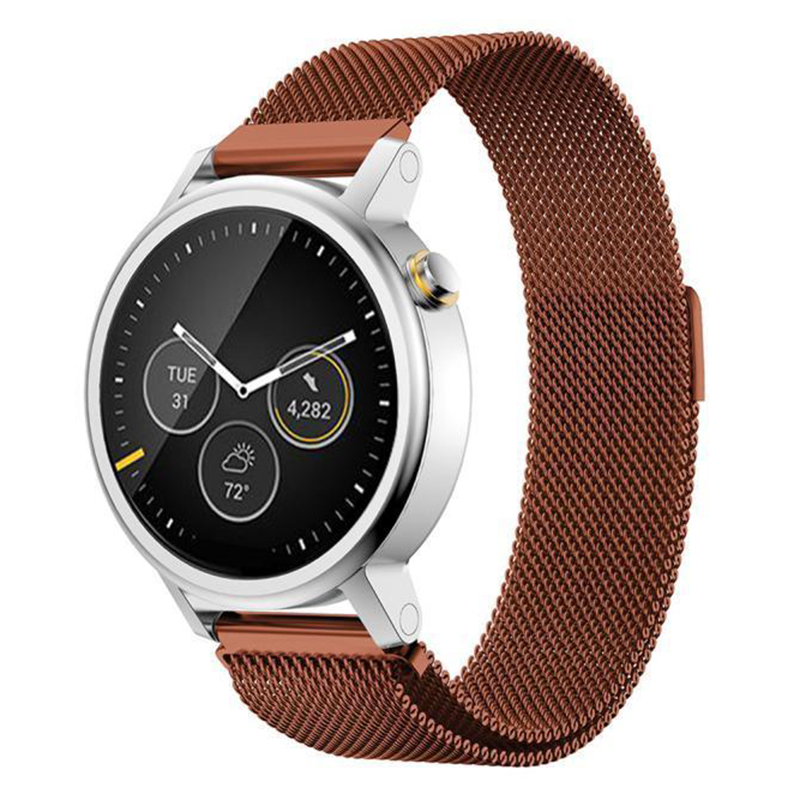Milanese Magnetic Loop Stainless Steel Band For MOTO 360 2nd Smart Watch Coffee 46MM