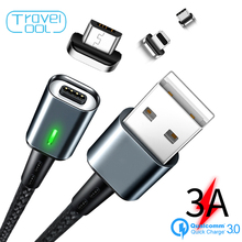 Travelcool Micro USB Huawei Magnet USB Charging Cable for IPhone Samsung XiaoMi 3A Fast Charging Type C Magnet Charger USB Cable