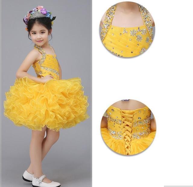YY4338 Люкс холтер без бретелек бисероплетение детские платья повязки бальное платье девочки pageant платья для торжеств и вечеринок костюм