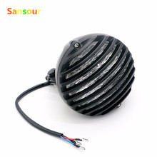 Sansour BLACK MOTORCYCLE FINNED GRILL LED HEADLIGHT CAFE RACER BOBBER XS650 CB750 XL TRI