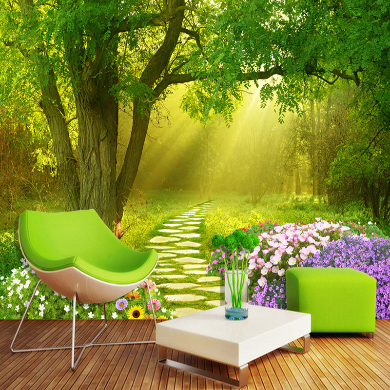 Custom Photo Mural Wallpaper Non-woven Wallpapers For Living Room Flowers Butterflies Forest Small Road Home Decor Wall Paper 3D