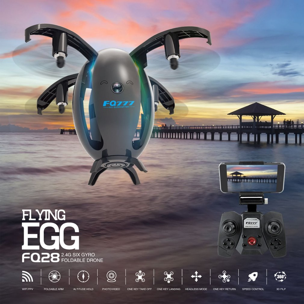 FQ28 WIFI RC Quadcopter Foldable Egg Shape Drone With 2 Megapixel Camera Universal Photography Video Device