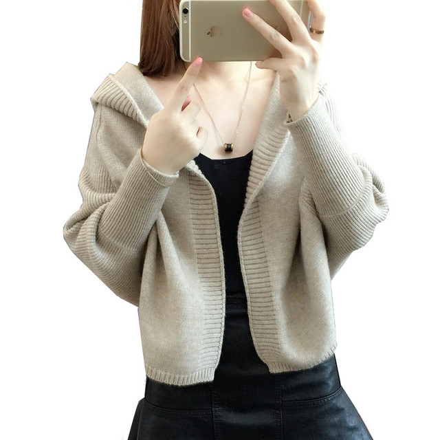 82d4aa0753 High quality spring autumn fashion shawl cardigan new Korean version short  sweater for women hooded bat sleeve lady s sweater