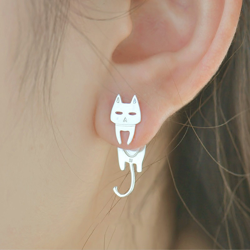 Allergy free 925 Sterling Silver Stud Earrings For Women Cat Fish Cute Animal Hypoallergenic 2018 Fashion