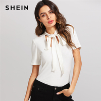 SHEIN Tie Neck Ribbed Solid Tee 2018 Summer White Ladies Vacation Plain T Shirt V Neck