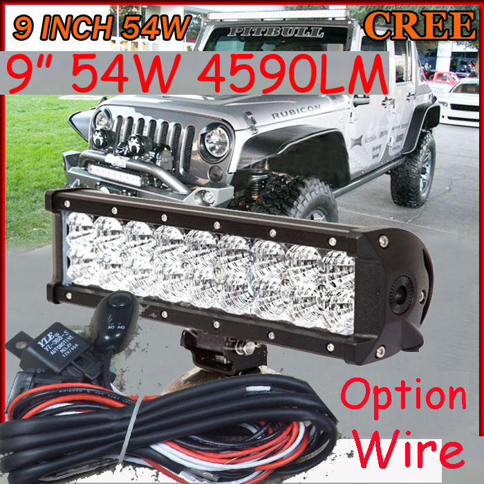 Free DHL/UPS/FEDEX ship! 9  54W,4590LM,10~30V,6500K,LED working bar;led offroad bar,Option wire harness,4x4,LED bar light free dhl ups fedex ship 41 150w 13000lm 10 30v 6500k led working bar led offroad bar option wire harness suv led bar light