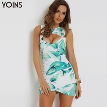 YOINS Summer 2017 New Vintage Women Floral Printed Bodycon Dress Sexy V neck Sleeveless Wrap Front