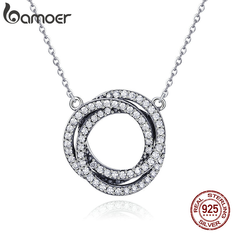 BAMOER Real 925 Sterling Silver Minimalism Elegant Round Circle Clear CZ Pendant Necklaces Women Sterling Silver Jewelry SCN259 органик шоп carrot organic био бальзам для волос морковный супер укрепляющий 250мл