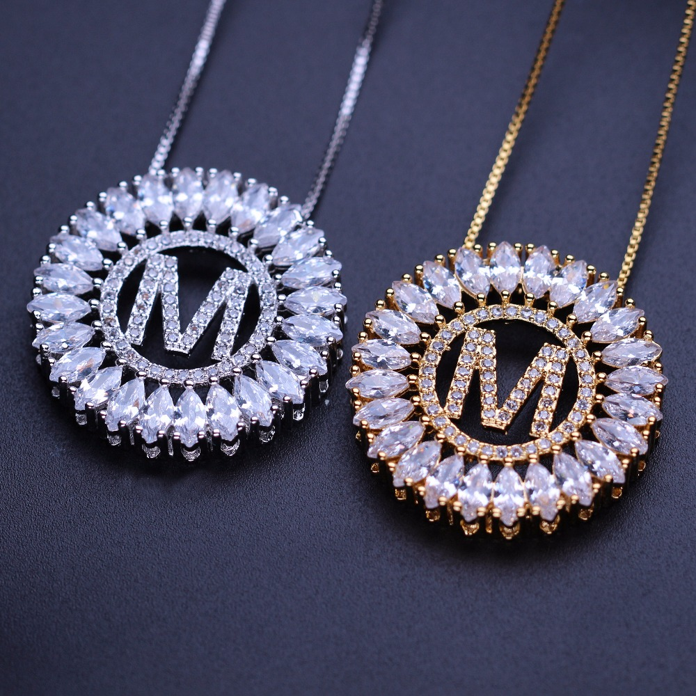MW Initial necklace letter chain chABCDEFGHIJKLMNPRSTVY pendant necklace with cubic zirconia fashion jewelry for women CFX001 double ring letter link chain pendant necklace