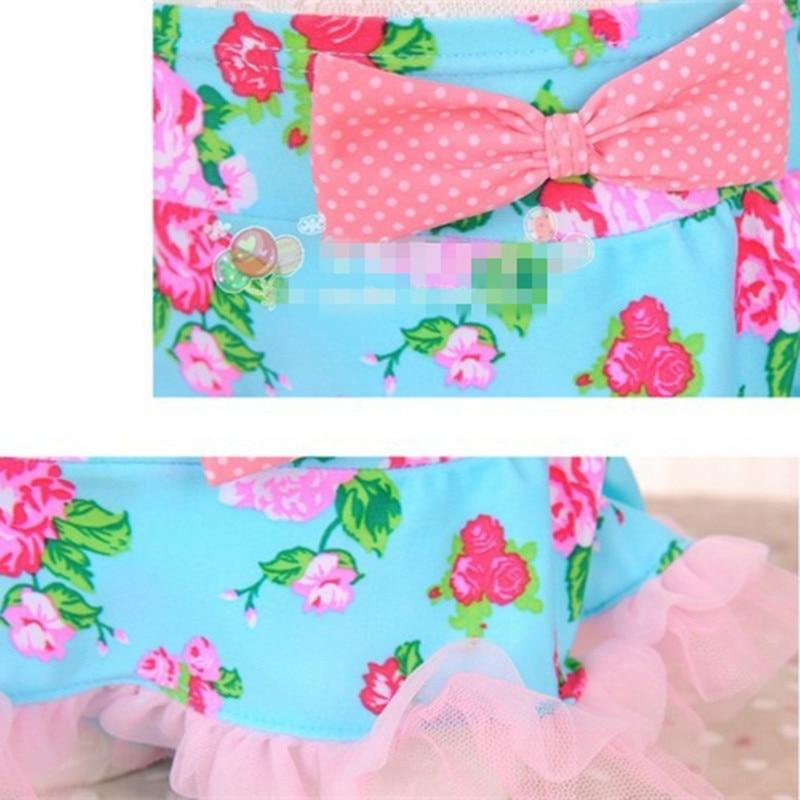 Girls Swimsuit Lace Flower Split Swimwear Pink Princess swimsuit Baby Girl Bikini Set Children Bathing Suits2-6 T
