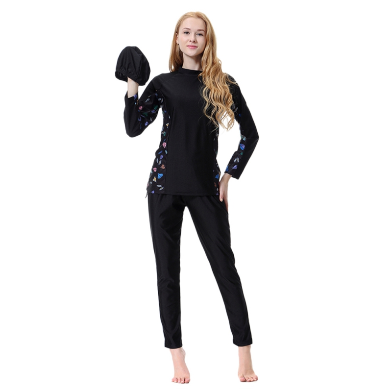 Muslim Set Swimwear Islamic Hijab Islam Burkinis Wear Bathing Suit Women Modest Patchwork Full Cover Long Sleeve Swimsuit W4
