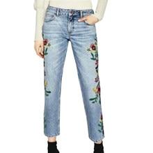 Flétri jeans femme high street côté bande broderie de floral droite cheville -longueur denim pantalon maman jeans femmes 390952a27705