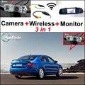 3 in1 Especial Cámara de Visión Trasera + Receptor Inalámbrico + Espejo Monitor de BRICOLAJE Fácil Sistema de Estacionamiento de Copia de seguridad Para Skoda Octavia 5E MK3