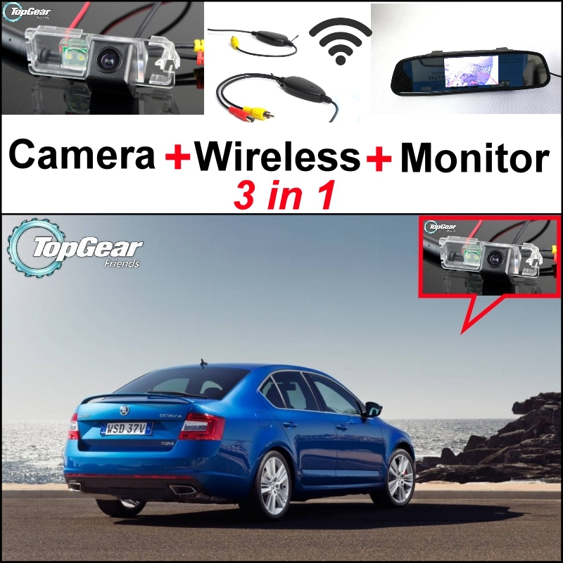 3 in1 Special Rear View Camera + Wireless Receiver + Mirror Monitor Easy DIY Back Up Parking System For Skoda Octavia 5E MK3 3 in1 special rear view camera wireless receiver mirror monitor back up parking system for honda jazz 5d 2002 2013
