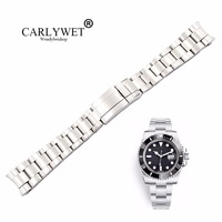 CARLYWET 20 21mm Silver Brushed 316L Solid Stainless Steel Watch Band Belt Strap Bracelets For GMT Submariner