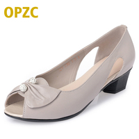 OPZC 2018 New Genuine Leather Woman Shoes Butterfly Knot Crystal Low Heeled And Comfortable Fashion Stylish