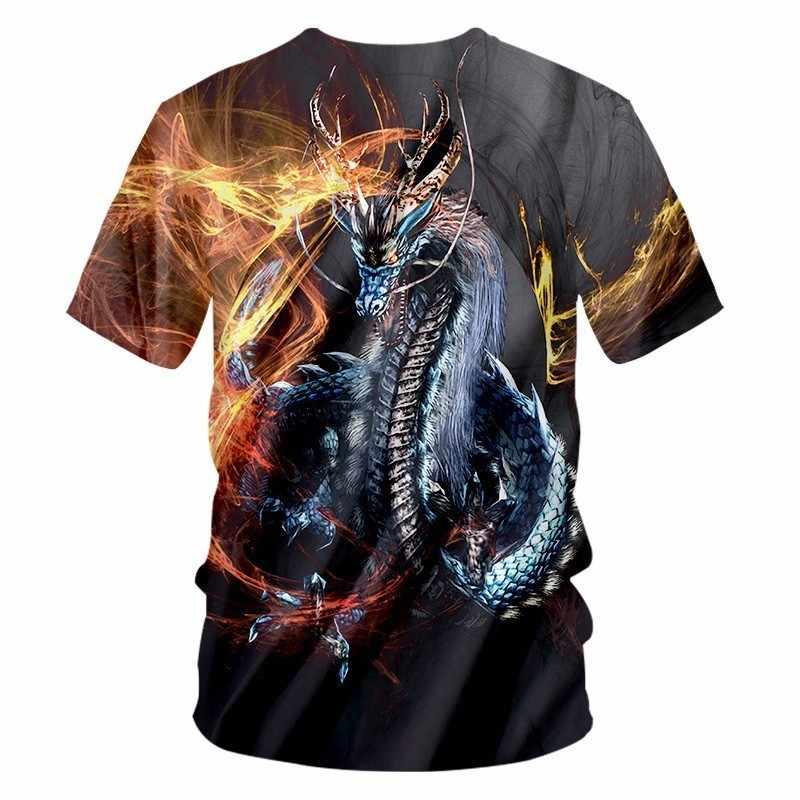 OGKB New Harajuku Men Casual Tshirt Funny Print Fire Dragon 3D T-shirt Man Hiphop Streetwear Tee Shirts Short Sleeve T Shirt 7XL