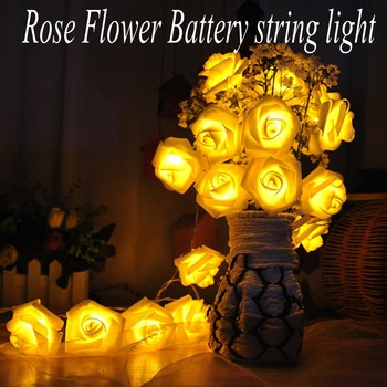 AA Battery Fashion Holiday Lighting 20 LED Novelty Rose Flower Fairy String Lights Wedding Party Valentine's Day Decoration 1