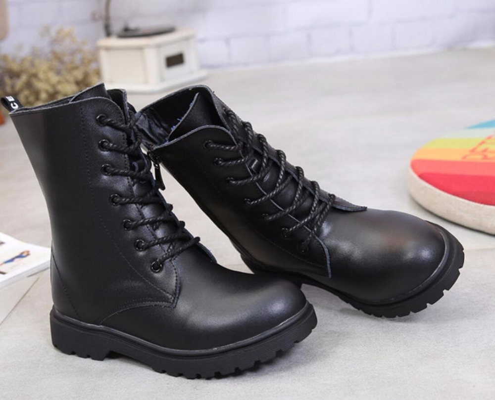 New Children Shoes Autumn & Winter Boy & Girls Genuine Leather Waterproof Keep Warm Snow Boots Fashion Unisex Martin Boots цена 2017